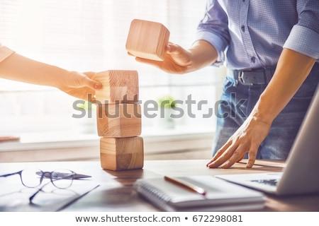 csapatépítés · építőkockák · levelek · együtt · épület · színek - stock fotó © kitch