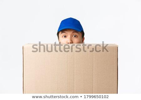 Mavi paketleme kutu açmak beyaz sunmak Stok fotoğraf © dezign56