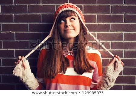 Happy girl in hat thinking Stock photo © Agatalina