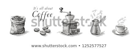 Kahve çekirdekleri öğütücü elektrik beyaz beyaz arka plan dizayn Stok fotoğraf © Koufax73