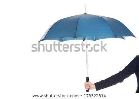 viaggiatore · ombrello · isolato · bianco · clock · pioggia - foto d'archivio © wavebreak_media