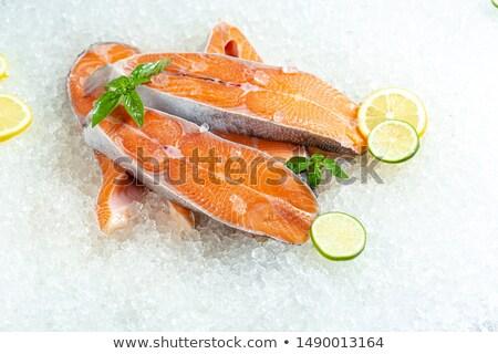 Fresh Trout side lying on ice Stock photo © Klinker