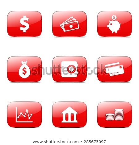 financial banking square vector red icon design set stock photo © rizwanali3d
