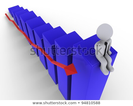 Man Sits On Top Of Red Diagram Photo stock © 6kor3dos
