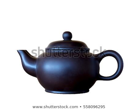 Color china teapot isolated on white. Stock photo © vapi