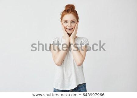 Portrait joli cute femme mains Photo stock © deandrobot