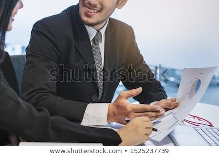 Osobowych doradca finansowy tabletka działalności uśmiech spotkanie Zdjęcia stock © zurijeta