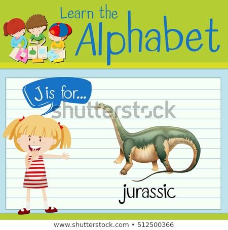 Flashcard letter J is for jurassic Stock photo © bluering