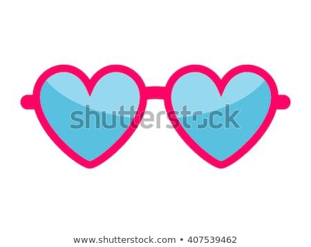 очки сердце красный жидкость стекла синий Сток-фото © illustrart