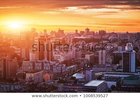Cityscape pôr do sol Ucrânia linha do horizonte mãe ponte Foto stock © joyr