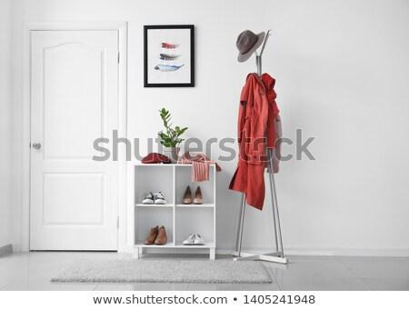jeunes · élégante · dame · rouge · intérieur · femme - photo stock © deandrobot