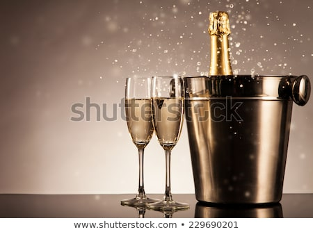 Two glasses of champagne and bottle. Stock photo © Zhukow