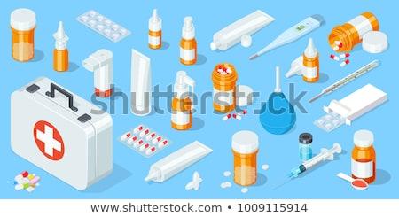 tıbbi · kaşık · grup · eczane · yalıtılmış · tablet - stok fotoğraf © antonio-s