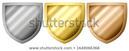 Medieval escudo isolado madeira metal branco Foto stock © tony4urban