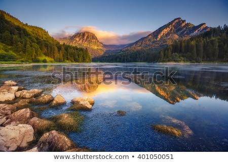 reggel · part · hegy · tó · napfelkelte · égbolt - stock fotó © kayco