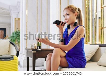 女性 ガラス ワイン ロビー 肖像 美人 ストックフォト © Pilgrimego
