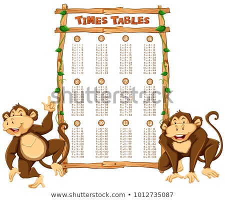 Time tables template with two monkeys Stock photo © bluering