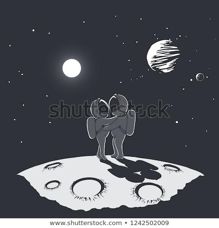 Cósmico amor homem mulher retro Foto stock © studiostoks