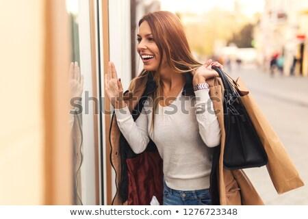 Stock fotó: Nő · sétál · ki · butik · divat · jókedv