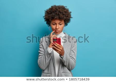 confundirse · nina · pie · blanco · mujer · cara - foto stock © deandrobot