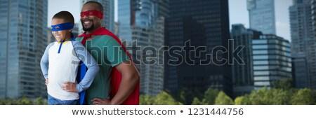 Syn ojca superhero miasta budynku łodzi zabawy Zdjęcia stock © wavebreak_media