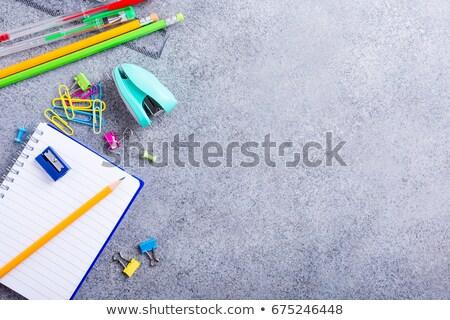 school supplies on gray stone background stock photo © melnyk