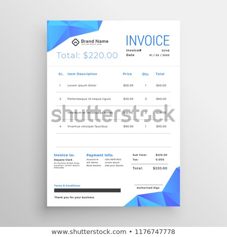 clean blue abstract low poly shapes invoice template Stock photo © SArts