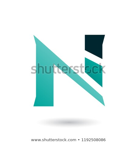 persian green sliced letter n vector illustration stock photo © cidepix