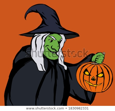 Old gray-haired witch in a black and green cloak isolated on white background. Sketch for a poster o Stock photo © Lady-Luck