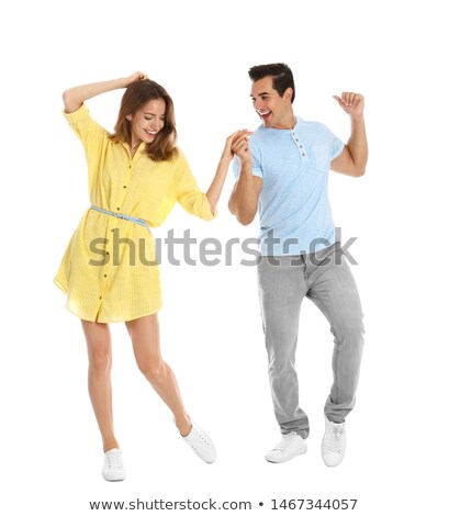 Couple Dancing On White Background Stock photo © AndreyPopov
