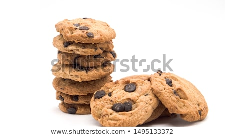 Healthy oatmeal cookies on white wood background, side view. Stock photo © dash