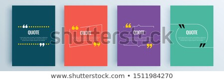 Quote speech bubble, template, text in brackets, citation frame, quote box. vector illustration. Stock photo © kyryloff
