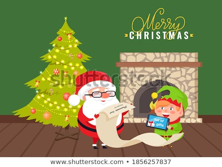 man holding a stone with the text merry christmas stock photo © nito