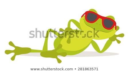 漫画 ヤモリ 座って 実例 笑みを浮かべて 幸せ ストックフォト © cthoman