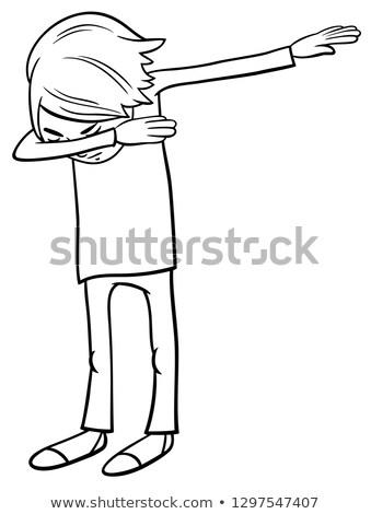 cartoon boy doing dab color book vector illustration © Igor Zakowski