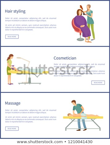 Hair Styling Cosmetician Face Therapy Set Vector Stock photo © robuart