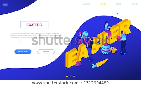 happy easter   colorful isometric vector web banner stock photo © decorwithme