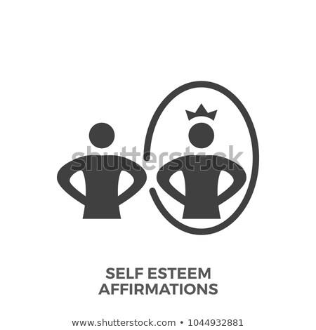 Stock photo: Self Esteem Affirmations Glyph Vector Icon.