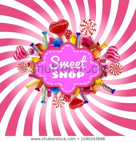 Stockfoto: Kleur · vintage · snoep · winkel · banner · desserts