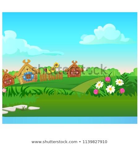 Vidék ház kémény fából készült kerítés vektor Stock fotó © robuart