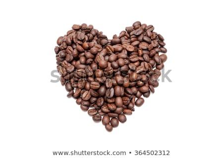 Aromás pörkölt kávé szív alak izolált fehér Stock fotó © sarahdoow