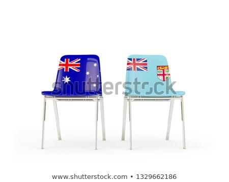 Kettő székek zászlók Ausztrália Fidzsi-szigetek izolált Stock fotó © MikhailMishchenko