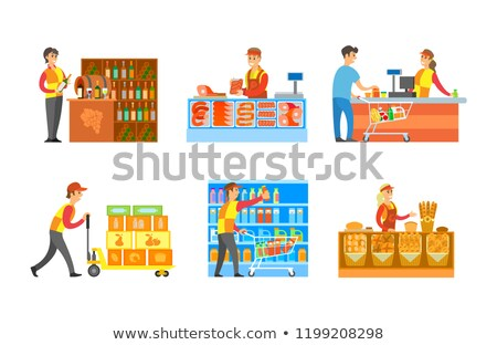 sommelier with customer in winery shop vector stock photo © robuart