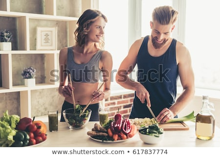 Woman and Man Bodybuliders Eating Healthy Food Stock photo © robuart