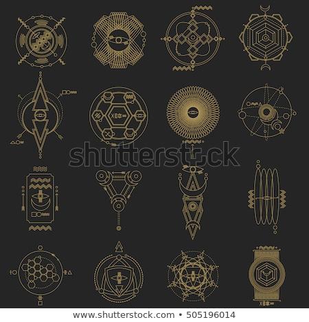 Vintage tarjetas dibujado a mano místico símbolos eps Foto stock © netkov1