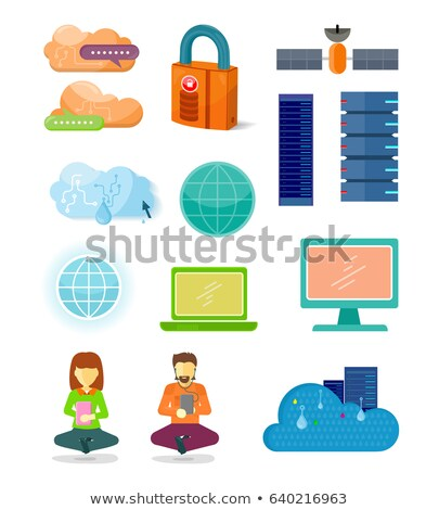 satellite and globe icon user woman digital set stock photo © robuart