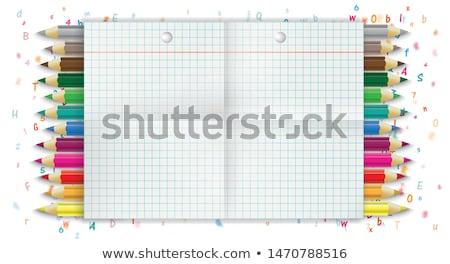 Doblado banner cartas números lápices papel Foto stock © limbi007