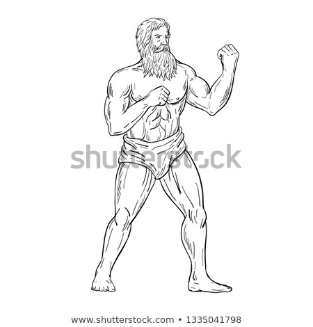 Bearded Boxer Fighting Stance Drawing Black and White Stock photo © patrimonio