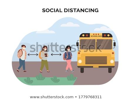 Sarı okul otobüsü grup çocuklar vektör parlak Stok fotoğraf © robuart