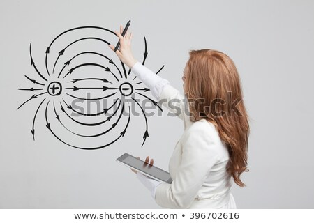 Diagram showing magnetic field on white background Stock photo © bluering
